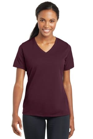 sport-tek ladies posicharge racermesh v-neck tee lst340