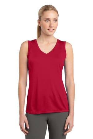 sport-tek ladies sleeveless posicharge competitor v-neck tee lst352