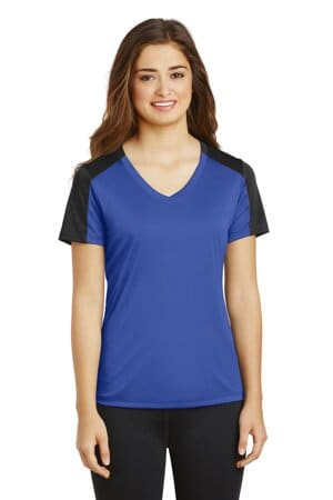 sport-tek ladies posicharge competitor sleeve-blocked v-neck tee lst354