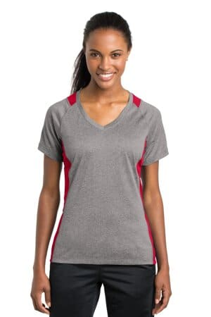 sport-tek ladies heather colorblock contender v-neck tee lst361