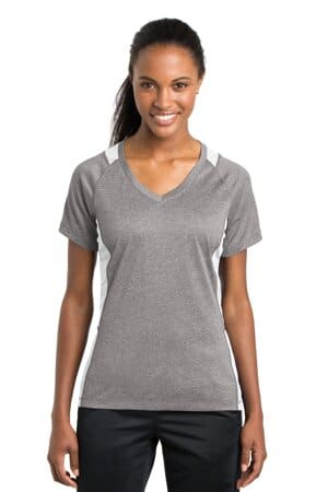 sport-tek ladies heather colorblock contender v-neck tee lst361