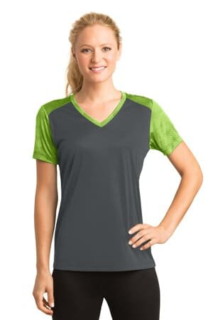 sport-tek ladies camohex colorblock v-neck tee lst371