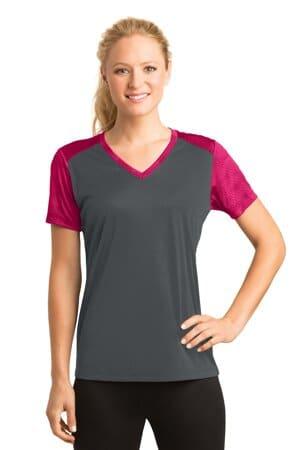 sport-tek ladies camohex colorblock v-neck tee lst371