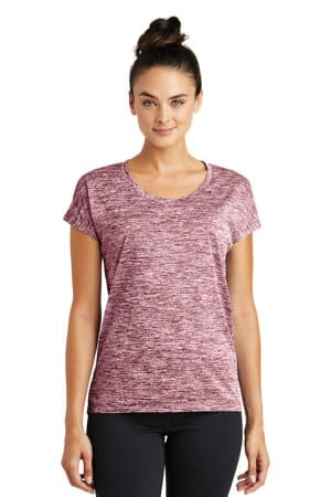 sport-tek ladies posicharge electric heather sporty tee lst390