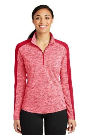 sport-tek ladies posicharge electric heather colorblock 1/4-zip pullover lst397