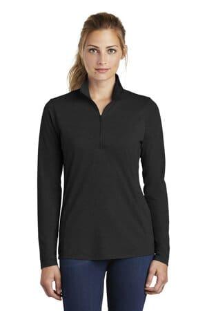 sport-tek ladies posicharge tri-blend wicking 1/4-zip pullover lst407