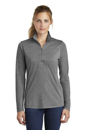sport-tek ladies posicharge tri-blend wicking 1/4-zip pullover lst407