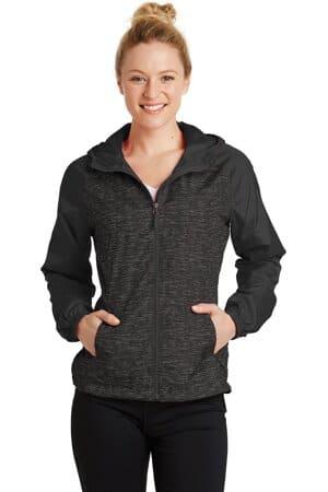 LST40 sport-tek ladies heather colorblock raglan hooded wind jacket