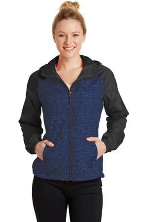 sport-tek ladies heather colorblock raglan hooded wind jacket lst40