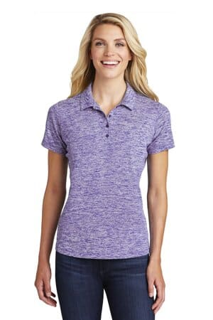 sport-tek ladies posicharge electric heather polo lst590