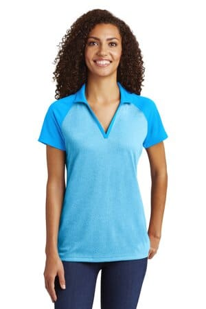 sport-tek ladies posicharge racermesh raglan heather block polo lst641