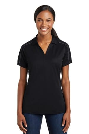 sport-tek ladies micropique sport-wick piped polo lst653
