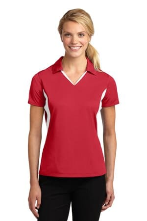 sport-tek ladies side blocked micropique sport-wick polo lst655