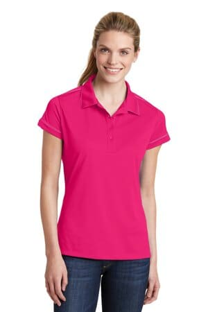 sport-tek ladies contrast stitch micropique sport-wick polo lst659