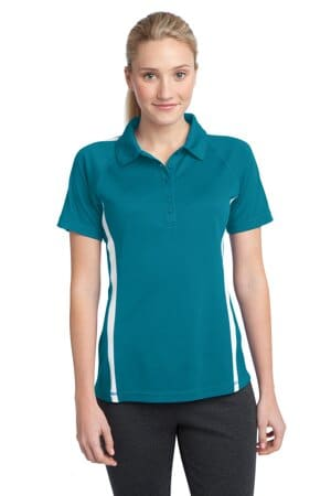 sport-tek ladies posicharge micro-mesh colorblock polo lst685