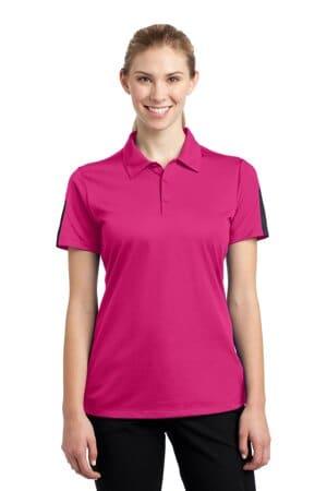 LST695 sport-tek ladies posicharge active textured colorblock polo