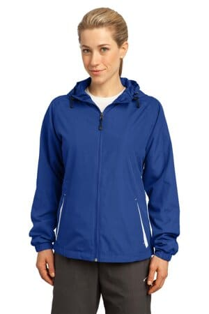 sport-tek ladies colorblock hooded raglan jacket lst76