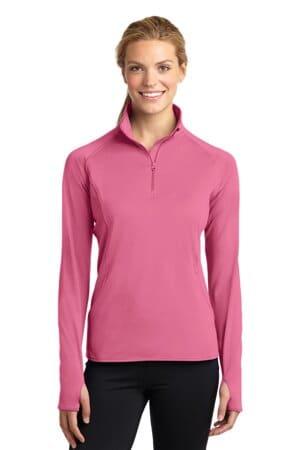 sport-tek ladies sport-wick stretch 1/2-zip pullover lst850