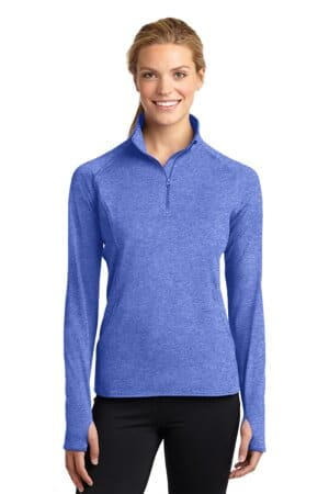 sport-tek ladies sport-wick stretch 1/2-zip pullover lst850