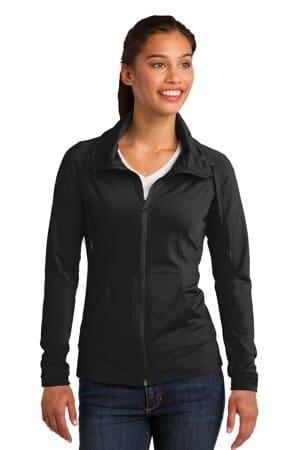 sport-tek ladies sport-wick stretch full-zip jacket lst852