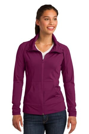 sport-tek ladies sport-wick stretch full-zip jacket lst852