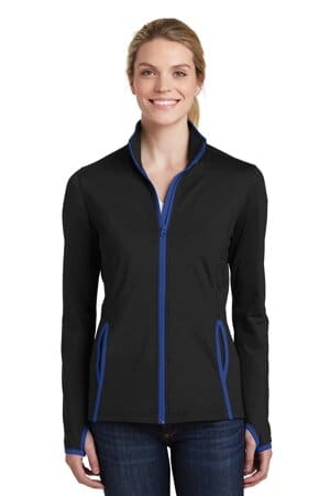 sport-tek ladies sport-wick stretch contrast full-zip jacket lst853