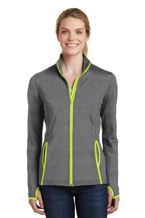 LST853 sport-tek ladies sport-wick stretch contrast full-zip jacket