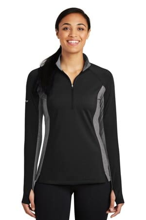 LST854 sport-tek ladies sport-wick stretch contrast 1/2-zip pullover