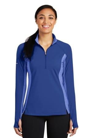 sport-tek ladies sport-wick stretch contrast 1/2-zip pullover lst854