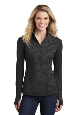 sport-tek ladies sport-wick stretch reflective heather 1/2-zip pullover lst855