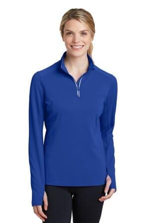 sport-tek ladies sport-wick textured 1/4-zip pullover lst860
