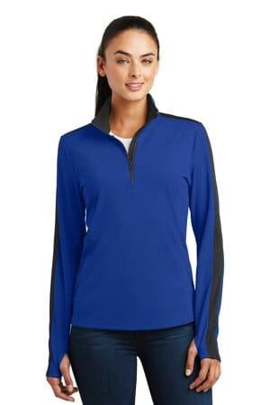 sport-tek ladies sport-wick textured colorblock 1/4-zip pullover lst861