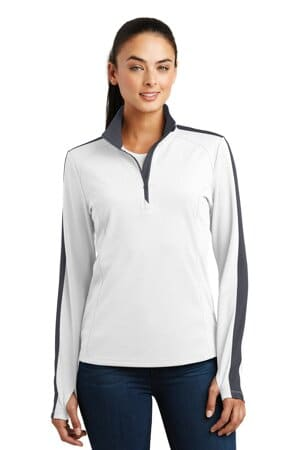 sport-tek ladies sport-wick textured colorblock 1/4-zip pullover lst861