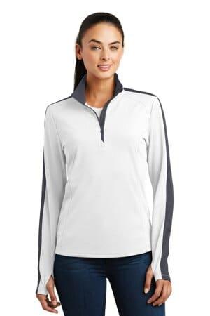 LST861 sport-tek ladies sport-wick textured colorblock 1/4-zip pullover