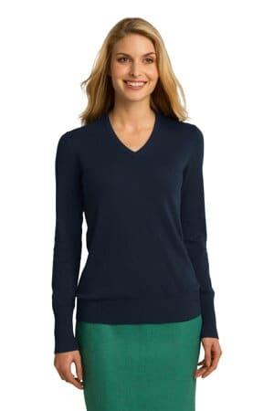 LSW285 port authority ladies v-neck sweater