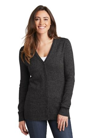 port authority ladies marled cardigan sweater lsw415