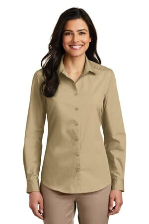 port authority ladies long sleeve carefree poplin shirt lw100