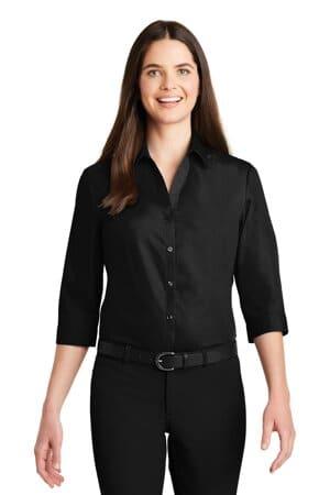 port authority ladies 3/4-sleeve carefree poplin shirt lw102