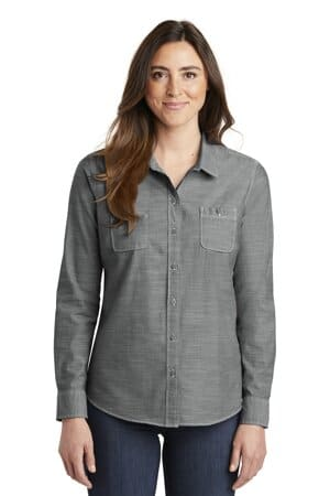 LW380 port authority ladies slub chambray shirt lw380
