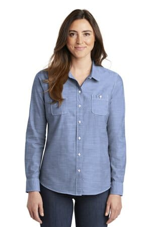 LW380 port authority ladies slub chambray shirt