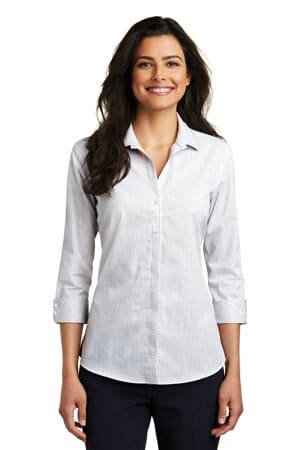 port authority ladies 3/4-sleeve micro tattersall easy care shirt lw643