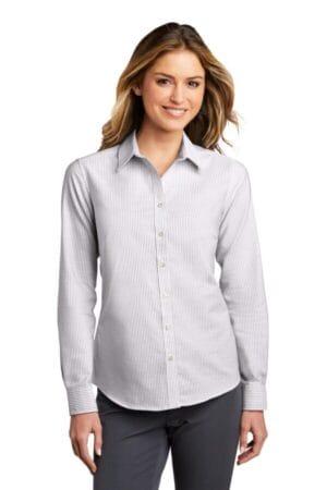 LW657 port authority ladies superpro oxford stripe shirt