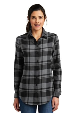 LW668 port authority ladies plaid flannel tunic