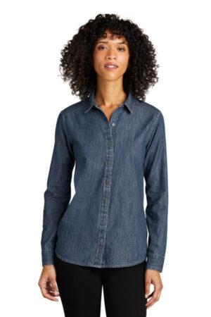 LW676 port authority ladies long sleeve perfect denim shirt