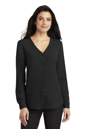 LW700 port authority ladies long sleeve button-front blouse
