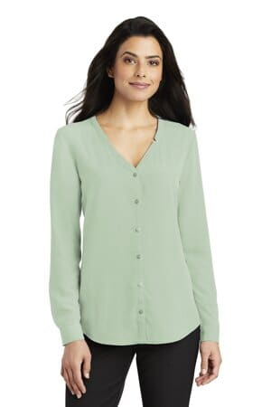 port authority ladies long sleeve button-front blouse lw700
