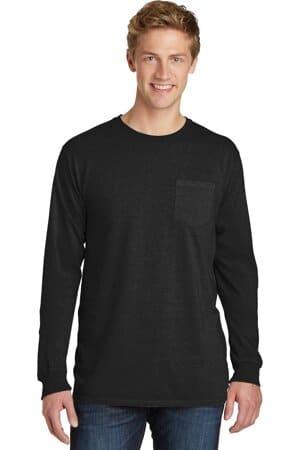 port & company beach wash garment-dyed long sleeve pocket tee pc099lsp