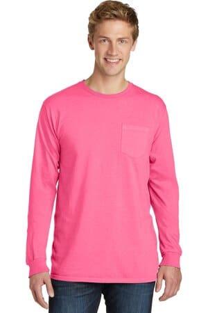 PC099LSP port & company beach wash garment-dyed long sleeve pocket tee