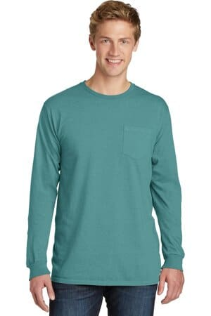 port & company beach wash garment-dyed long sleeve pocket tee pc099lsp