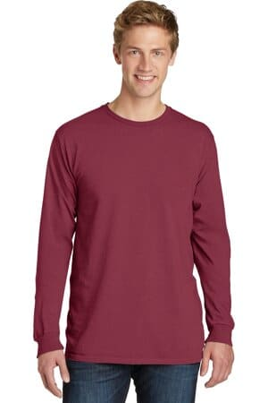 port & company beach wash garment-dyed long sleeve tee pc099ls